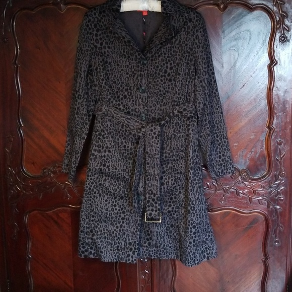 Kirna Zabete Jackets & Blazers - Gray leopard cheetah trench coat jacket sz S